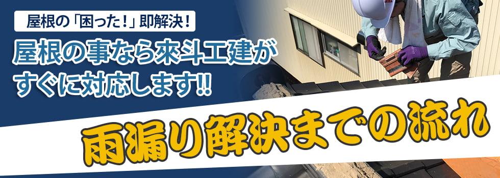 屋根の「困った!」即解決! 屋根の事なら來斗工建がすぐに対応します!! 雨漏り診断の流れ